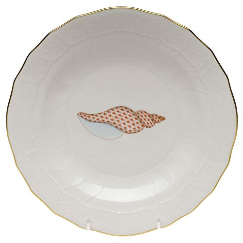 - Herend Seahorse Aquatic Porcelain Dessert Plate Raspberry Fishnet