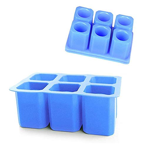 DiDaDi [2 Pack]Silicone Ice Shot Glass Mold,6-cups Square Blue Ice Cube Tray,Jelly Tray ,Cake Cup Mold ,Food Grade Silicone Ice Shot-Blue