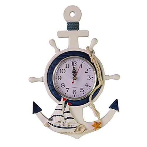 WINOMO Anchor Clock Beach Sea Theme Nautical Ship Wheel Rudder Steering Wheel Wall Hanging Decoration