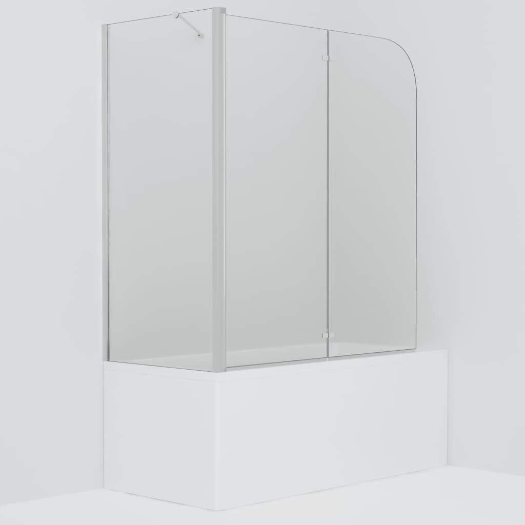 Nishore Mampara de Ducha de Cristal Plegable con Asas Modernas en Perfil Cromado y Cristal de Seguridad Monocapa 120 x 68 x 130 cm