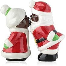 African American Mr. & Mrs. Santa Claus Kissing Salt and Pepper Shaker Set