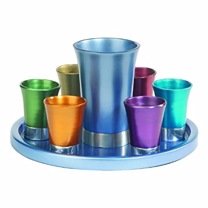759161887ca Amazon.com: Yair Emanuel Multicolored Anodized Aluminum Kiddush Set with  Tray (GSS-5): Kitchen & Dining