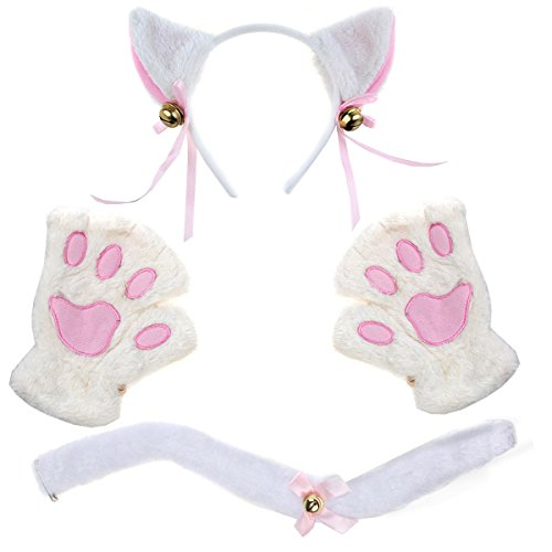Costume Gloves Bunny (Women's Cosplay Lingerie Set Kitten Cat Bunny Sexy Costume Outfit Party Accessory (one size, Color)