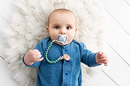 Grey, Mint, Ivory BPA Free Silicone Tiny Teethers Pacifier Clip with Teething Chewbeads for Baby