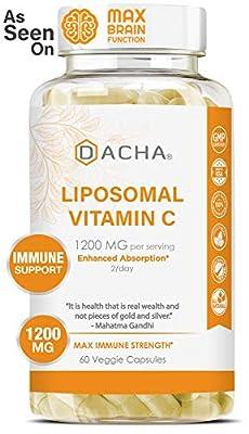 DACHA Nutrition Natural Liposomal Vitamin C - Buffered 1200mg Collagen & Immune System Booster, Anti Aging Skin Vitamins, Anti Inflammatory, Sodium Ascorbate, Sunflower Lecithin, Lypo Spheric