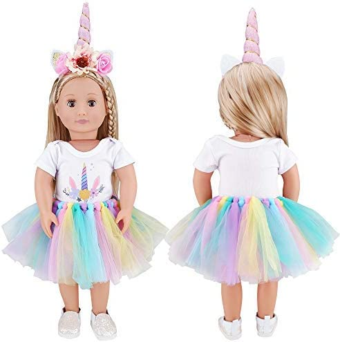 E-TING Dolls Unicorn Clothes Tutu fits for 18 inch Dolls Like American Girl Doll Headband Our Generation,My Life,Adora,Gotz Doll Accessories Costume Outfits