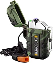 Plasma Lighter Waterproof Arc Lighter Windproof USB Electric Lighter Rechargeable with Emergency WhistleforHik