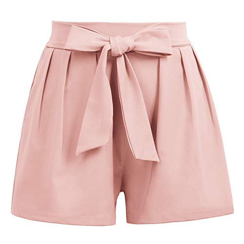 GRACE KARIN Women Bowknot Tie Waist Solid/Printed Summer Casual Shorts with Pockets (Small, Pink)