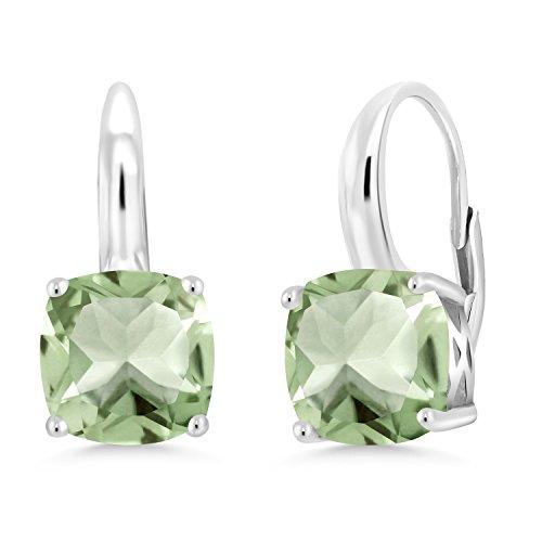 Gem Stone King 4.10 Ct Cushion Green Prasiolite 925 Sterling Silver Earrings
