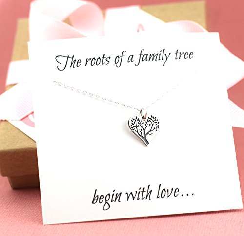klace - Sterling Silver - Simple Jewelry - Gift For Her (Silver Family Necklace)