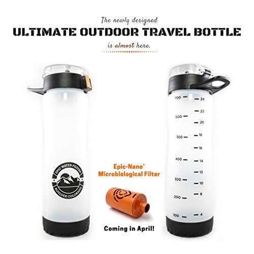 Ultimate Outdoor Travel Bottle   Includes (1) Microbiological Filter   American Made 100 Gallon Filter   Removes 99.9999% Bacteria Virus Cysts & More   27 OZ   Frosted