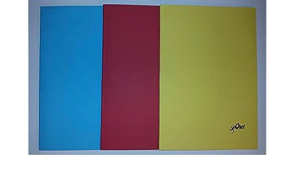 3 Libretas (Cuadernos) Escolares Olef Tamaño Folio 50 Hojas,Cuadricula Natural (Colores Aleatorios): Amazon.es: Juguetes y juegos