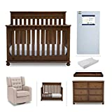 Crib Furniture Set - 7 Piece Baby Nursery with Convertible Crib, Dresser, Glider, Crib Mattress, Toddler Rail, Changing Top, Changing Pad - Simmons Kids Franklin Antique Chestnut Brown/Ecru