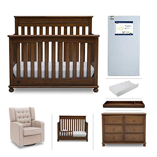 (Crib Furniture Set - 7 Piece Baby Nursery with Convertible Crib, Dresser, Glider, Crib Mattress, Toddler Rail, Changing Top, Changing Pad - Simmons Kids Franklin Antique Chestnut)