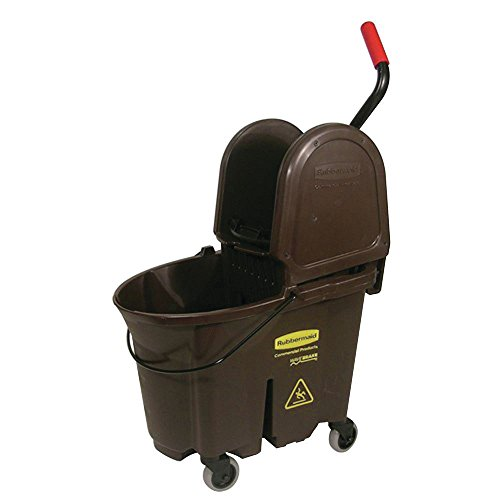 Rubbermaid 35 qt Brown Plastic WaveBrake Mop Bucket with Down Press Wringer ()