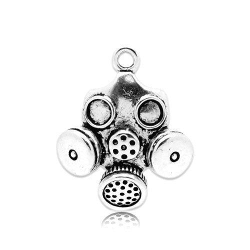 Paquet 5 x Argent Antique Tibétain 33mm Breloques Pendentif (Masque À Gaz) - (ZX04280) - Charming Beads