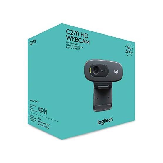 Logitech C270 3MP 1280 x 720pixels USB 2.0 Black Webcam 41lS27lX6dL. SS555