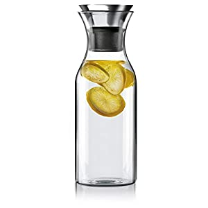 Hiware 35 Oz Glass Drip-free Carafe with Stainless Steel Silicone Flip-top Lid - Glass Water Pitcher Glass Fridge Carafe Ice Tea Maker