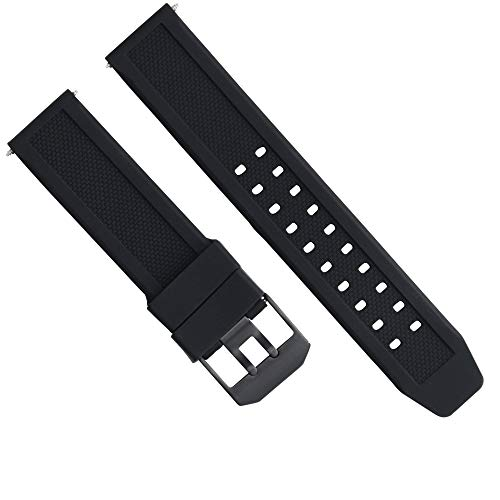 23MM Rubber Watch Band Strap for Citizen NAVIHAWK ECO Drive PVD Black Buckle ()