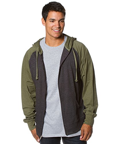 Global Blank Lightweight T-Shirt Material Raglan Zip up Hoodie with Pockets Charcoal/Army M by Global Blank (Image #2)