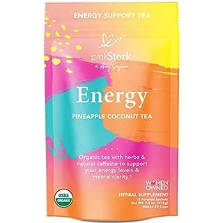 Pink Stork Energy Tea: Pineapple Coconut Caffeine Tea, All Natural Energy Drink with Green Tea, Organic Energy Tea, Women-Owned, 30 Cups