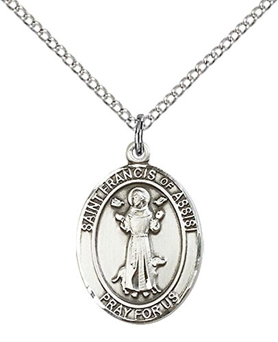 F A Dumont Church Supplies Sterling Silver St. Francis of Assisi Pendant with 18'' Stainless Steel Lite Curb Chain. Patron Saint of Animals/Catholic Aktion by F A Dumont Church Supplies