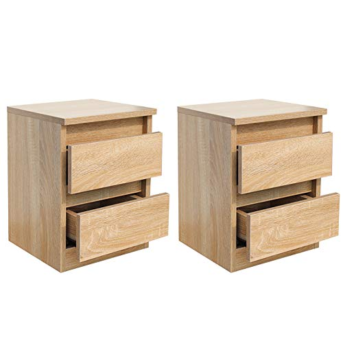 2 Natural Drawer Nightstand - Night Stand Set of 2 with Drawers Solid Wood Cabinet Bedside Table End Table for Budget Bedroom Furniture (Natural wood2)