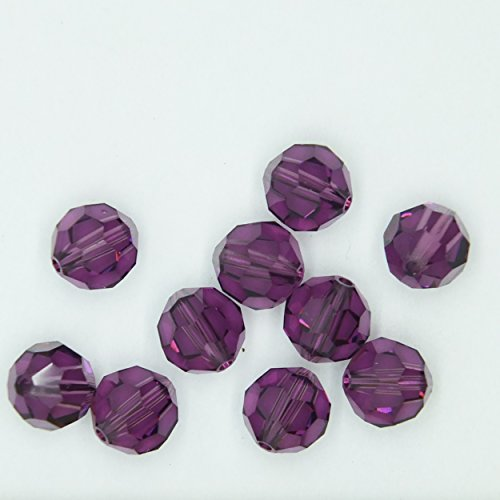 (Amethyst Purple 6mm Swarovski Crystal Beads. Round. Made in Austria. Pack of 10)