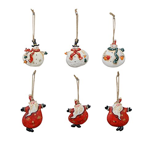 Santa Snowman Ornament (YK Decor 6 Assorted Christmas Wood and Resin Dancing Santa and Snowman)