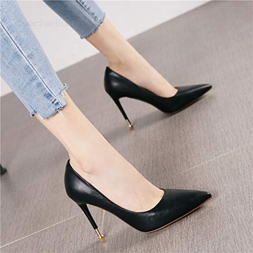 Heels Stiletto Shallow heels Fashion Mouth Multi Black Pointed Wild Shoes Single Color Commuter High Women Yukun vqgxaa