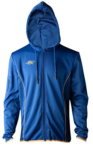 Fallout 76 Hoodie Vault 76 Logo Teq Official Xbox Ps4 Gamer Mens Blue Zipped Size XL]()