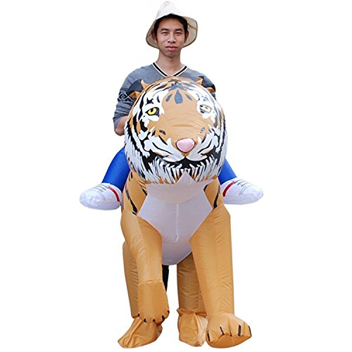 Inflatable Rider Costume Fancy Dress Funny Tiger Animal Dinosaur Tyrannosaurus Funny Suit Mount for Adult -