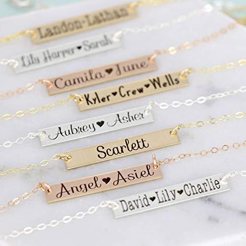 Personalized Bar Necklace up to 3 names by Wickedly Mod Sterling Silver, Gold Filled or Rose Gold Filled Best Gift for Mom or Grandma