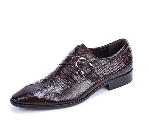 Moda Repujado 43 Tamaño Trabajo color Cuero Hebilla En Zapatos Negocios Hombres Relieve Para Boda Marrón De wqPYpxZf