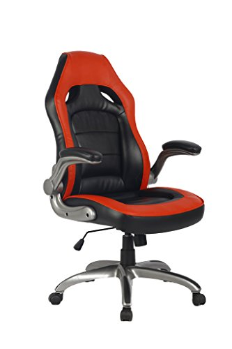 NKV Gaming Chair Racing Office Chair Ergonomic Video Game Chair High Back Computer Chair 300lbs Heavy Duty PC Gaming Chair Bonded Leather PU Home Swivel Desk Chair (Black/red) by NKV