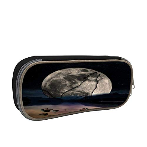 Full Moon Wolf Silhouette Personalized Stationery Bag Student Pencil Box Portable Cosmetics Storage Bag Back to School Children's Gifts Black