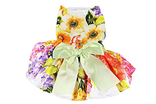 Floral Satin Dog Dress by Midlee (Small Dog X-Large, White)