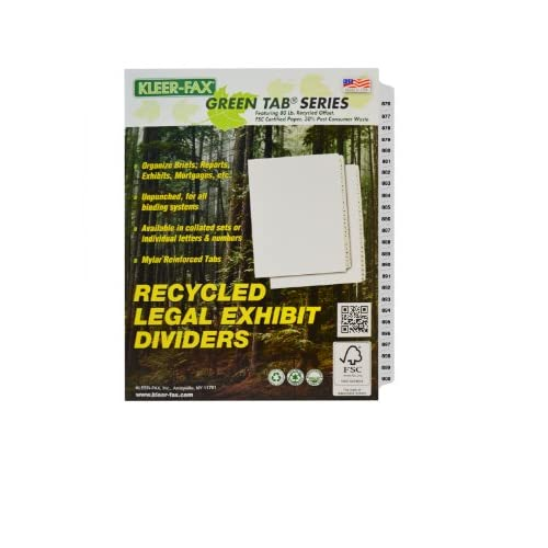 Kleer-Fax Letter-Size Index Dividers, Collated Numbered Sets, Side Tab, 1/25th Cut, 1 Set per Pack, White, 876-900 (91936)