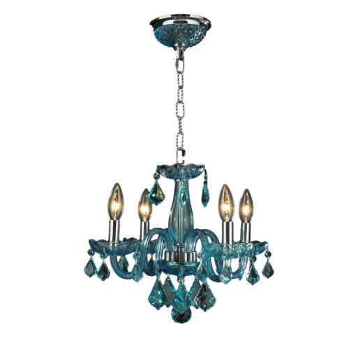 Worldwide Lighting Clarion Collection 4 Light Chrome Finish and Coral Blue Turquoise Crystal Chandelier 16' D x 12' H Mini
