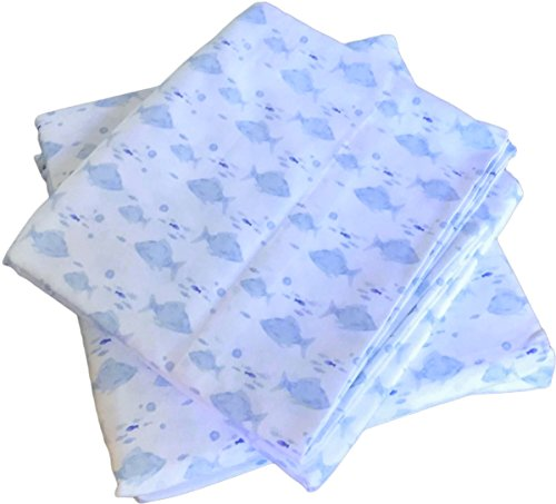 - Ocean Glimmer Queen Sheet Set Coastal Clear Water School of Swimming Light Blue Tropical Fish - 100% Cotton Extra Deep Pocket 4 pc Set