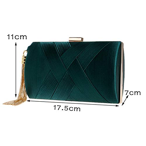 Dress Womens Evening Female Banquet Dinner Bag Silk Bag Tassel XJYA Green Clutch x0wdqCZgy