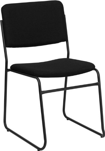 Flash Furniture HERCULES Series 1000 Lb. Capacity High Density Black Fabric Stacking  Chair With Sled