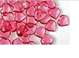 Translucent Pink Acrylic Hearts for Vase Fillers, Table Scatter, or Decoration