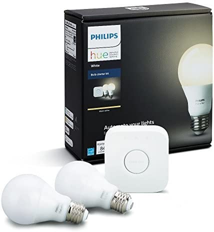 Philips Hue White A19 60W Equivalent Dimmable LED Smart Bulb Starter Kit 2 A19 60W White Bulbs and 1 Hub Compatible