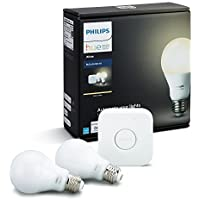 Philips Hue White A19 60W Equivalent Dimmable LED Smart Light Bulb Starter Kit, 2 A19 60W White Bulbs and 1 Bridge