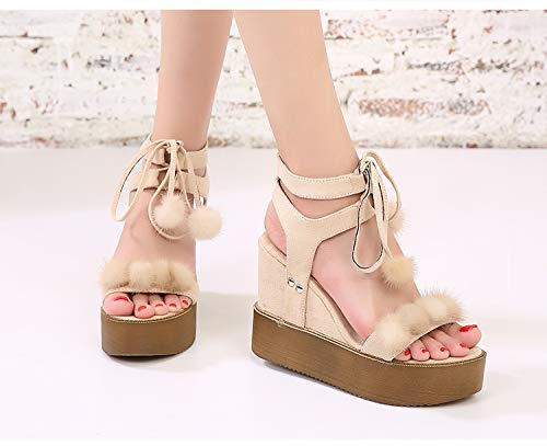 SFSYDDY Sandals Increased color Summer Thick With Ball Cake 36 apricot Female Sponge Slope Department Inside Hair New Toe Shoes High Heeled With rrpZcF1x