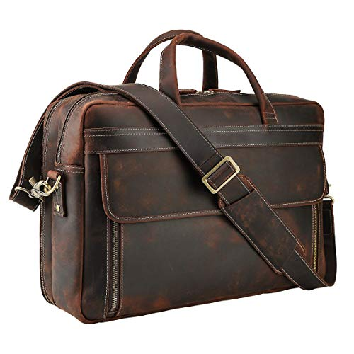 - VMATE Men's Full Grain Leather 17'' Laptop Briefcase Leather Messenger Bag Tote (Dark Brown)