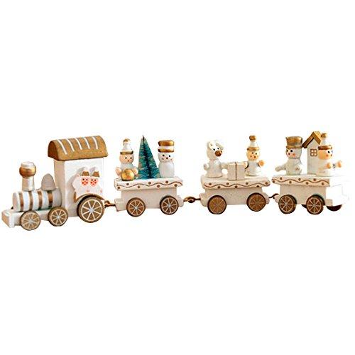 Felice Holiday Express Train Set Wood Train Decor Christmas Decoration Tablepiece Xmas Gift (white) White Christmas Express Train Set
