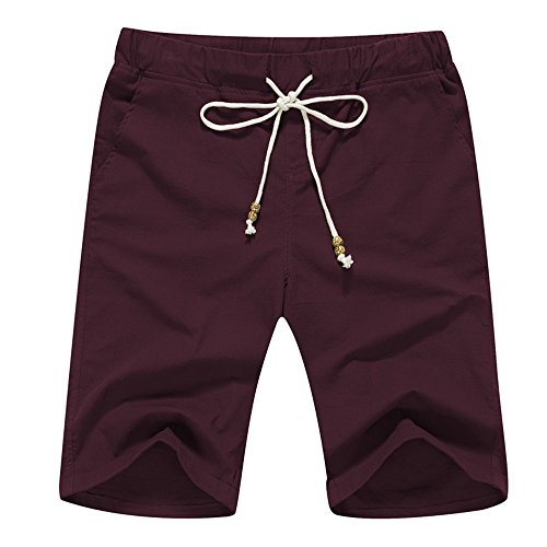 Janmid Men's Linen Casual Classic Fit Short (2XL, Wine Red)