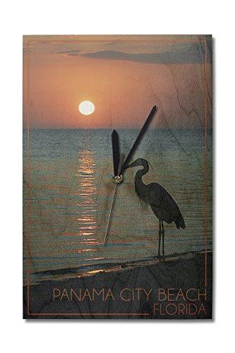 Panama City Beach, Florida - Heron and Sunset (10x15 Wood Wall Clock, Decor Ready to - Panama Beach Sunset City Time